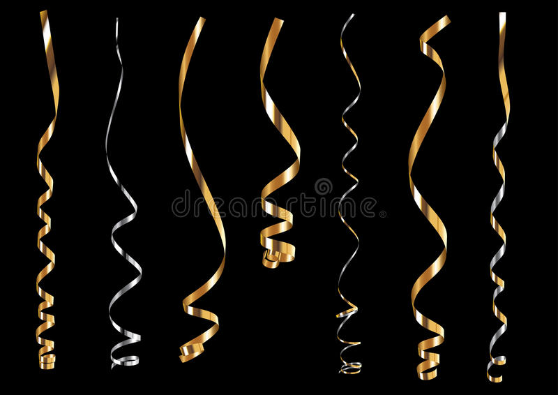 Gold and silver curling ribbons set vector illustration