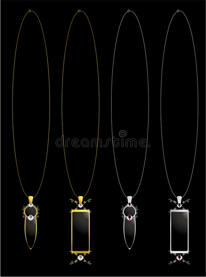 Gold and silver elegant necklaces stock illustration