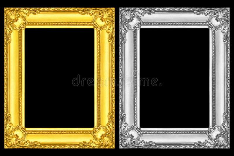 Gold And Silver Frames Isolated On Black Stock Photo - Image of ...