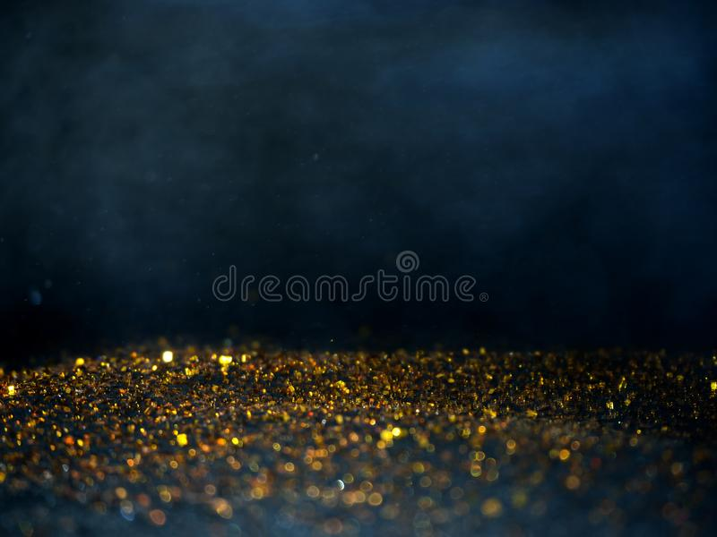 Gold Silver glitter with bokeh,Black background stock photography