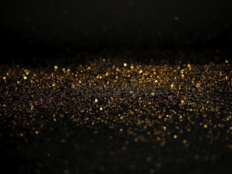 Gold Silver glitter with bokeh,Black background. Gold and Silver glitter with Black background stock photo