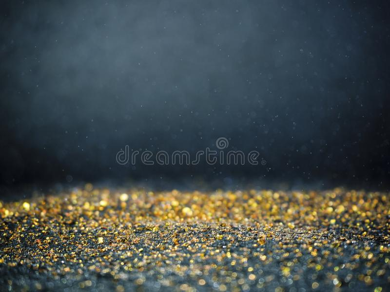 Gold Silver glitter with bokeh,Black background stock image