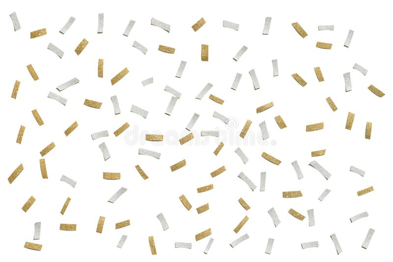 Gold and silver glitter confetti paper cut on white background. Isolated royalty free stock image
