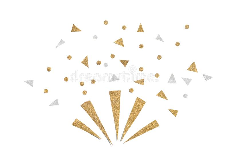 Gold and silver glitter party popper paper cut. On white background stock images