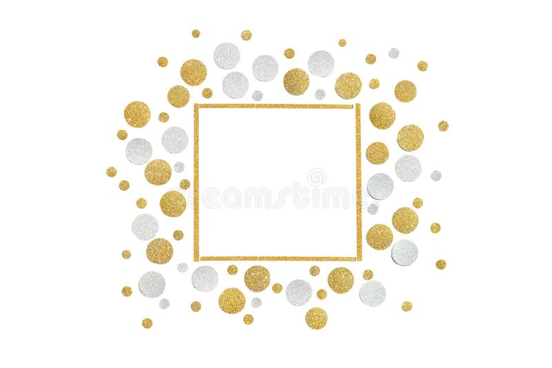 Gold and silver glitter square frame paper cut. On white background - isolated royalty free stock photo