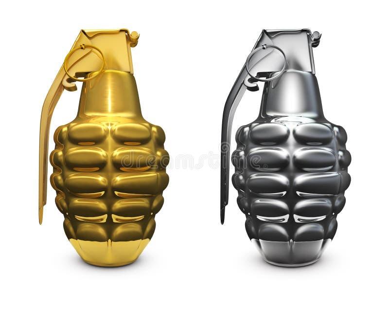 Gold and silver grenade vector illustration