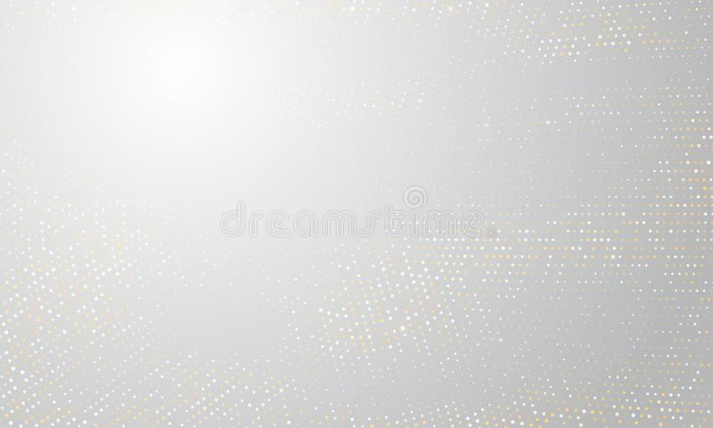Gold silver halftone background. Vector golden glitter circle with dotted sparkles pattern texture white halftone shine stock illustration