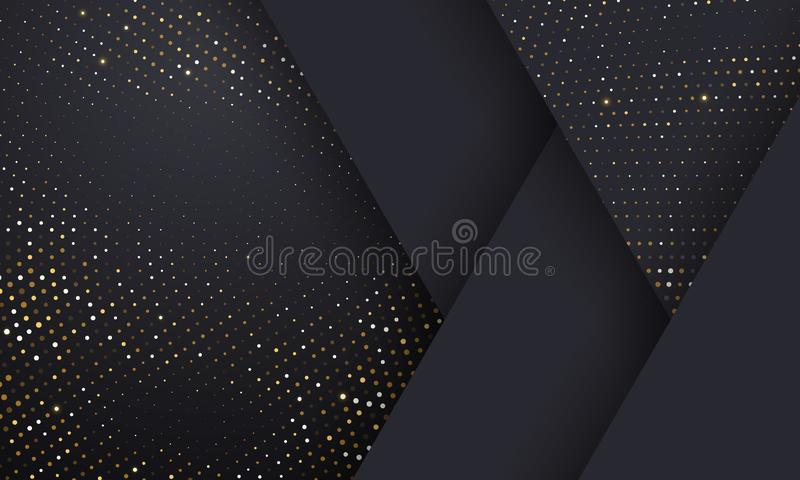 Gold and silver halftone pattern geometric black background. Vector golden glitter dotted sparkles or halftone shine texture vector illustration