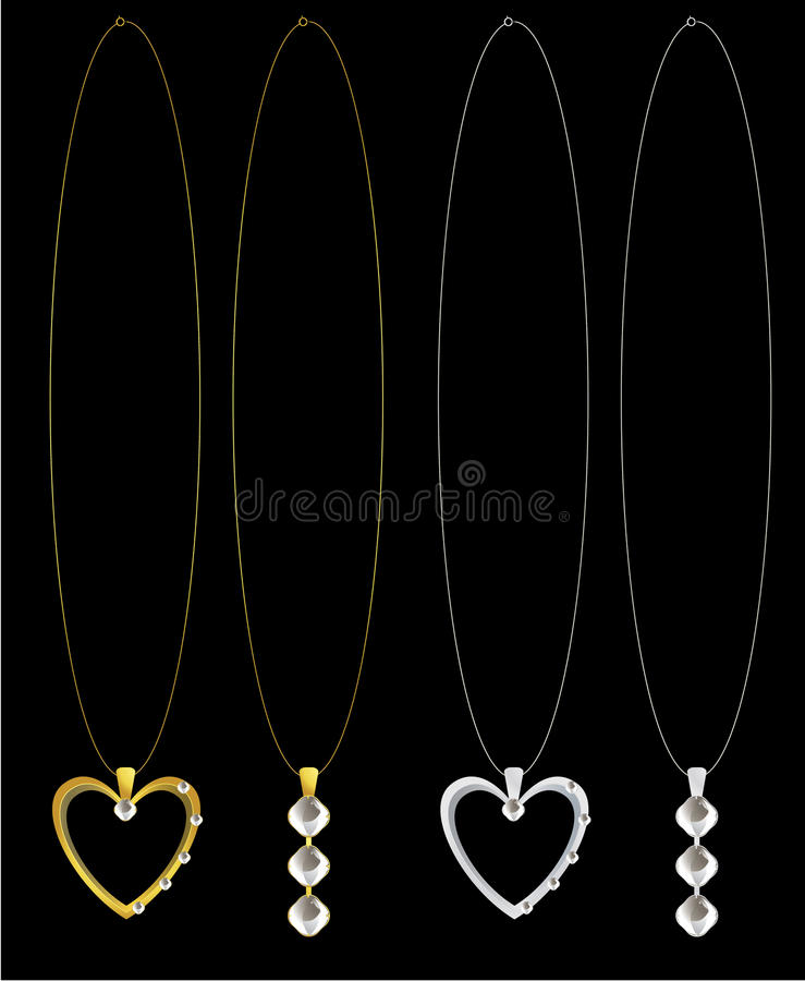 Gold and silver heart and diamond necklaces royalty free illustration