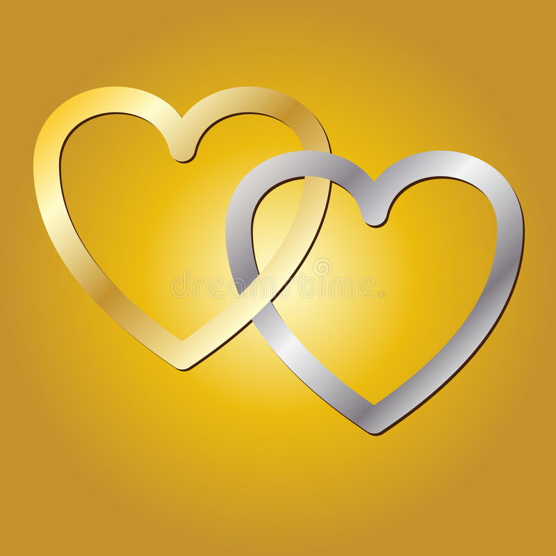 Gold and Silver Hearts stock photography