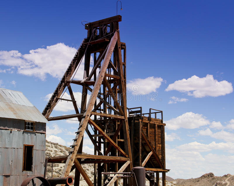 Gold and silver mine shaft head frame stock images