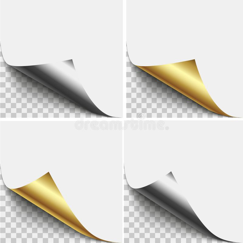 Gold and silver page corner peel. Blank sheet of folded sticky paper note. Vector illustration sticker peel for advertising and p royalty free illustration
