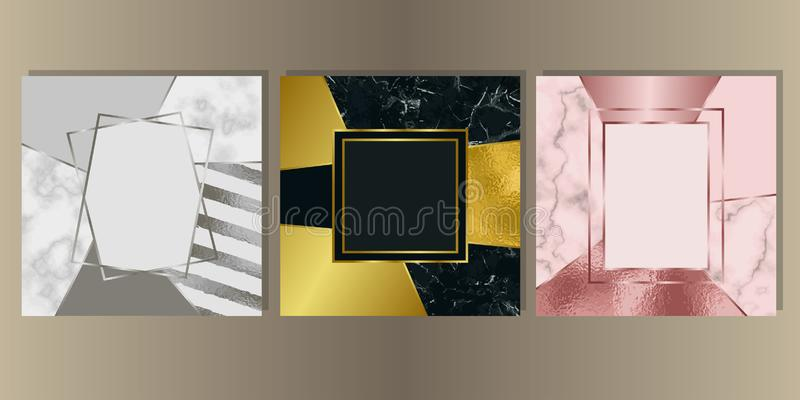 Luxury Marble Cover Set with Geometric Elements vector illustration