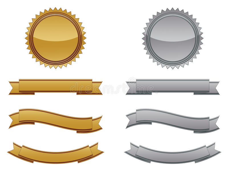 Gold And Silver Seals. A set of gold and silver seals with various shaped banners stock illustration