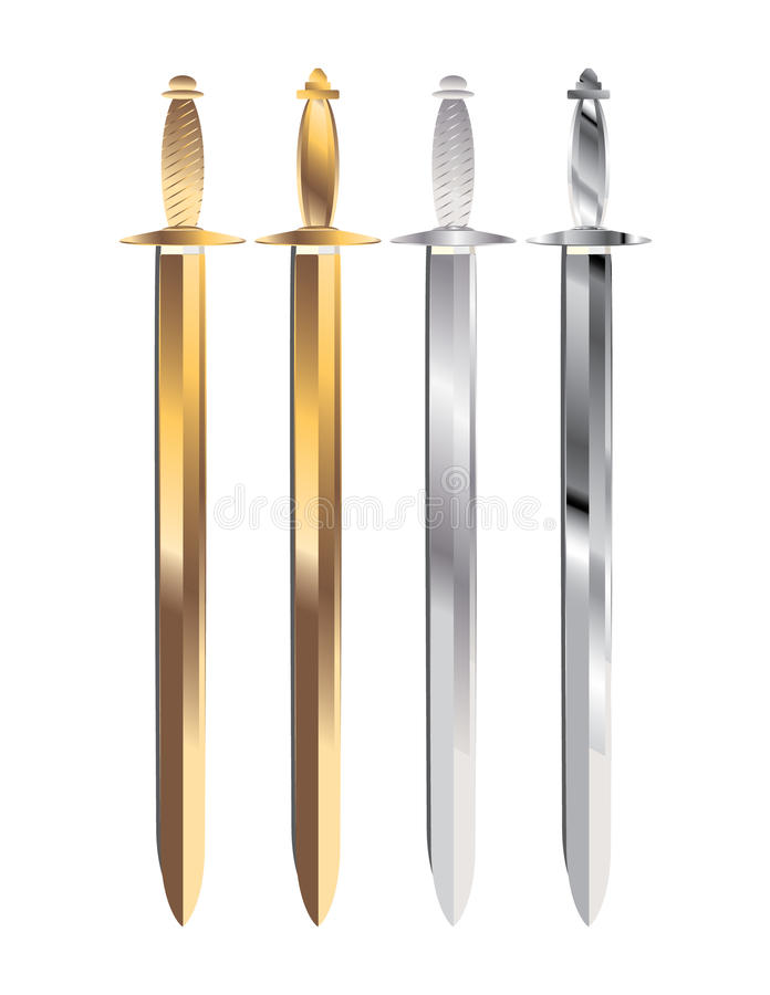 Gold and silver sheathed sword stock illustration