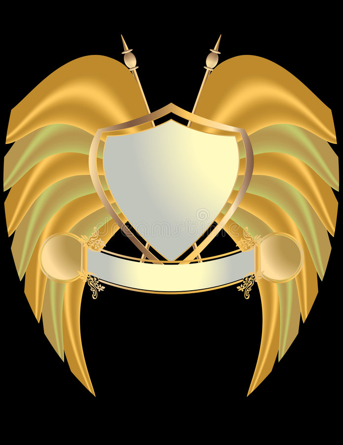Gold and silver shield royalty free illustration