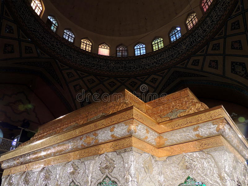 Gold and silver shrine or zarih for Imam Hussain's grave in Karbala, Iraq stock photography
