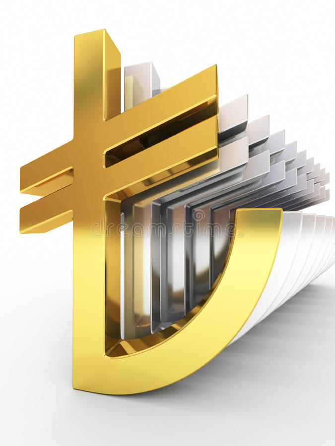 Gold and silver turkish lira signs royalty free stock photo