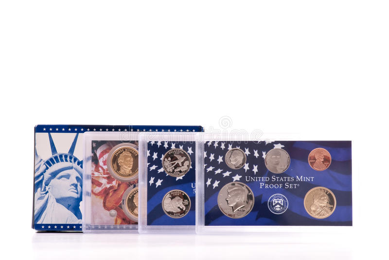 Gold and Silver US Proof Sets stock image