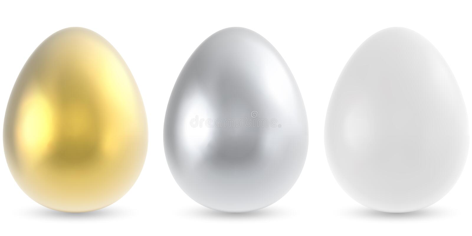 Gold, silver and white egg. Isolated on white background. Vector illustration vector illustration