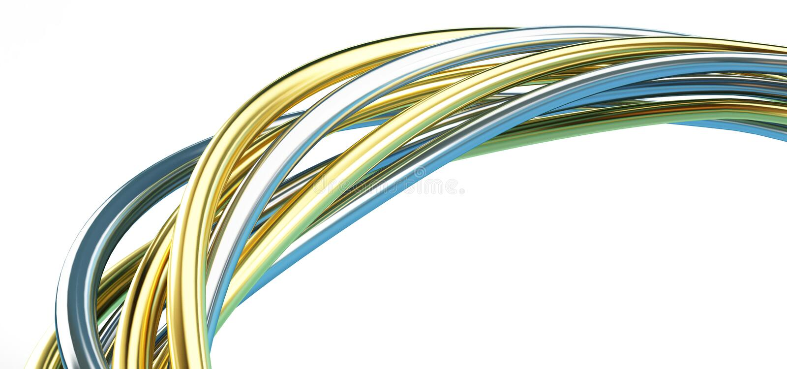 Gold and silver wire. 3d Illustrations on a white background vector illustration