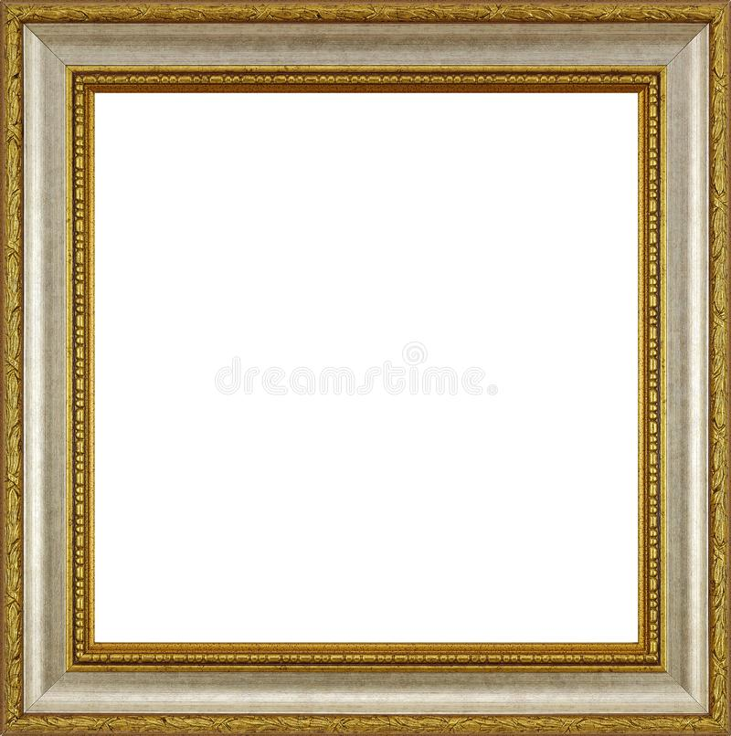 Gold silver wooden frame. For photographs and paintings, isolated on white background stock image