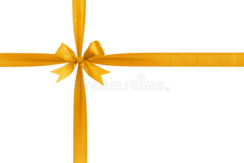 Gold simple tied ribbon bow composition stock photos