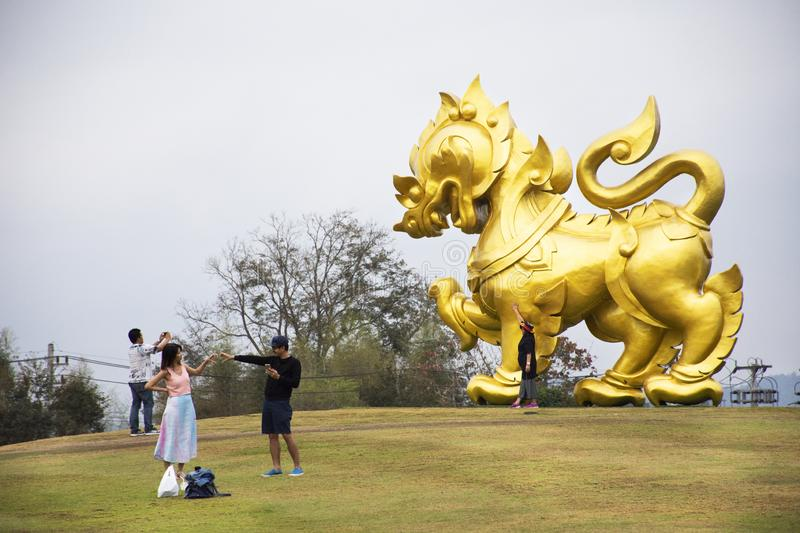 Gold Singha statue on hill in Singha Park at Chiangrai city in Chiang Rai, Thailand royalty free stock photos