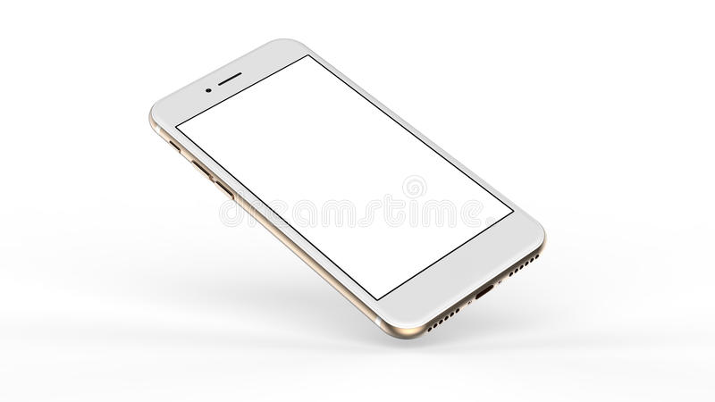 Gold smartphones with blank screen. Gold smartphones with blank screen, isolated on white background stock photo
