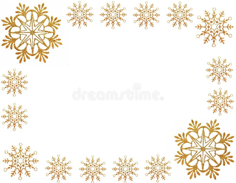 Gold snow stars frame stock images