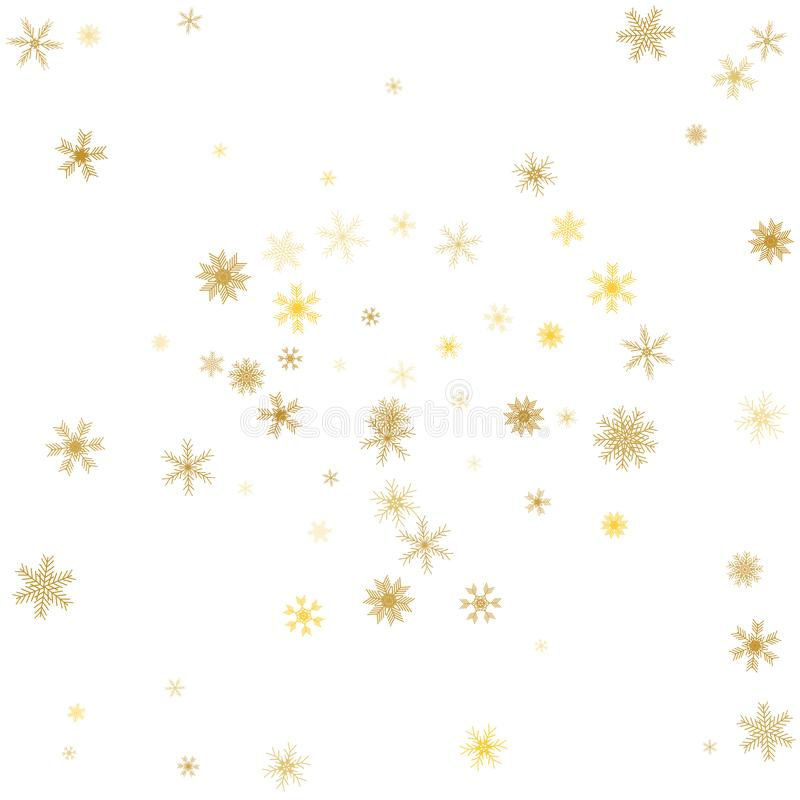 Gold snowflake winter background. Golden snowflakes on white. Vector.  vector illustration