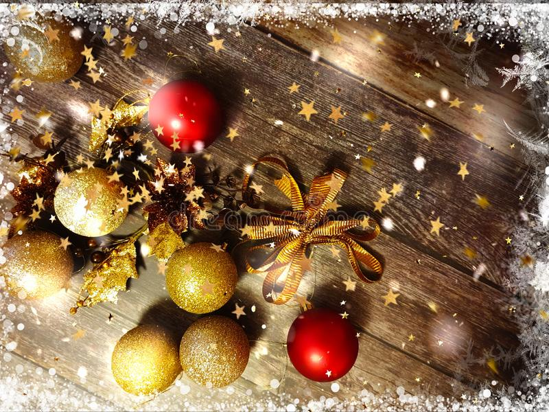 Christmas and new Year holiday gold red silver tree balls decoration on  brown background snowflakes and blurred yellow light bac stock image