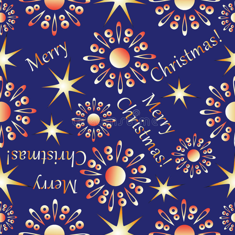 Gold snowflakes and stars. Seamless pattern with Christmas greeting. Design for textiles, glassware, tapestries, packaging for gifts royalty free illustration