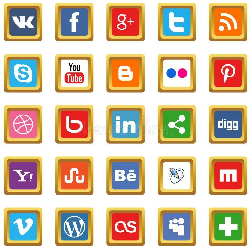 Gold social media icons royalty free illustration