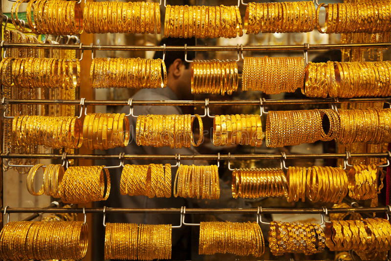 Gold souk. Display with jewellery in gold souk in Dubai stock image