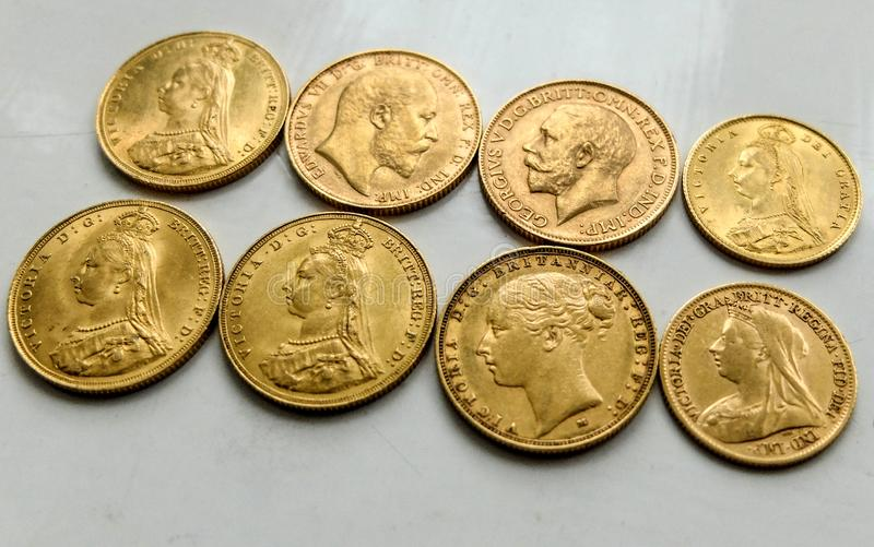 Gold Sovereign Coins,mixed dates,front and rear. royalty free stock photos