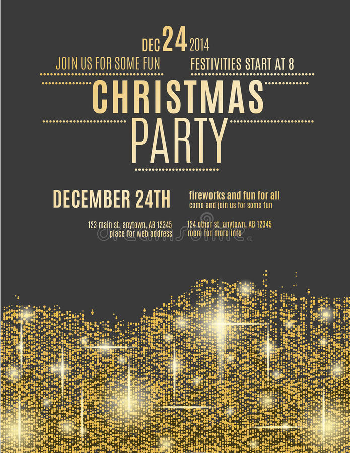 Gold Sparkle Christmas Party flyer template royalty free stock images