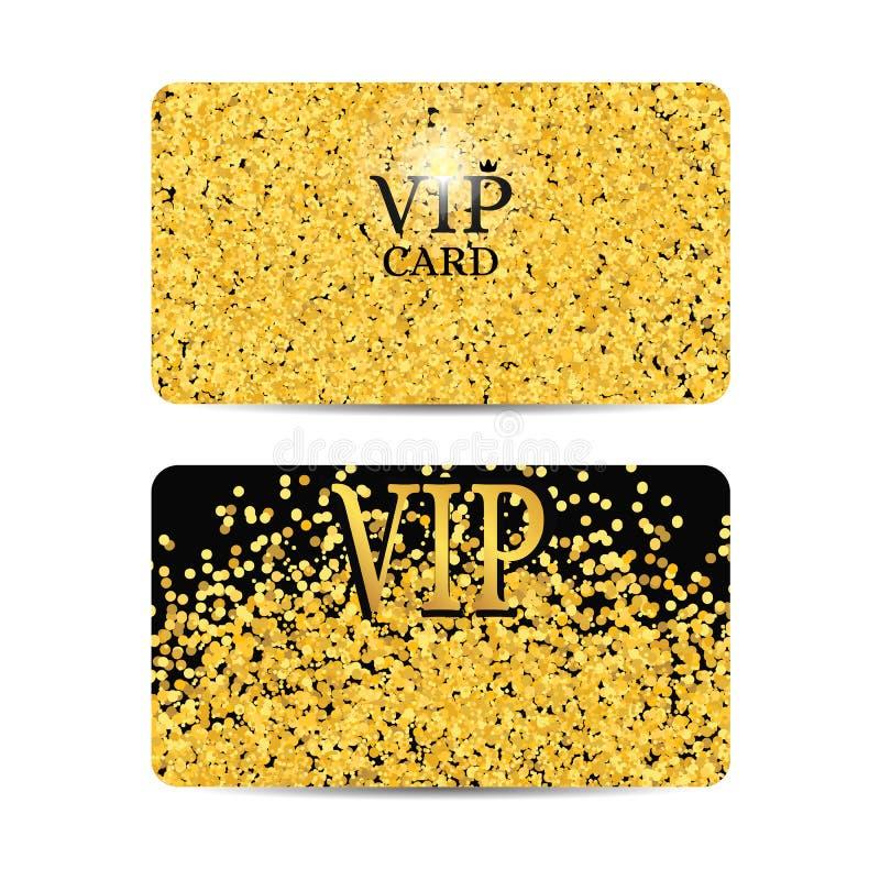 Gold sparkles on black background. Gold VIP card. royalty free illustration