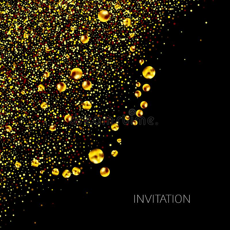 Gold sparkles corner on black background. Gold glitter background. Golden card, vip, exclusive, certificate, gift, luxury, stock illustration
