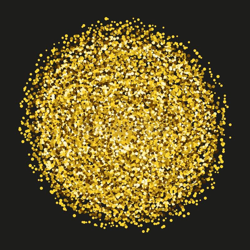 Gold sparkles and glitter powder spray. Sparkling glitter particles explosion on vector black transparent background stock illustration