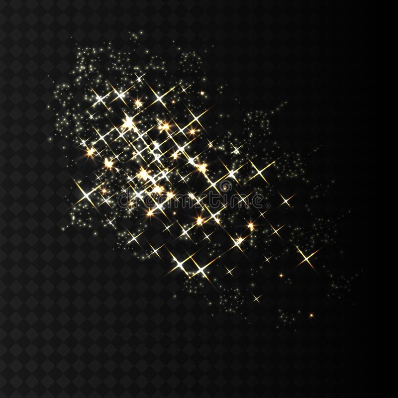 Gold sparkles and glittering powder spray. Sparkling glitter particles explosion on vector black transparent background. royalty free illustration