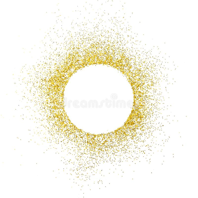 Gold sparkles on white background. White circle shape for text and design.  stock images