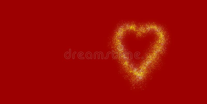 Gold sparkling valentiness heart with red background und copy space vector illustration