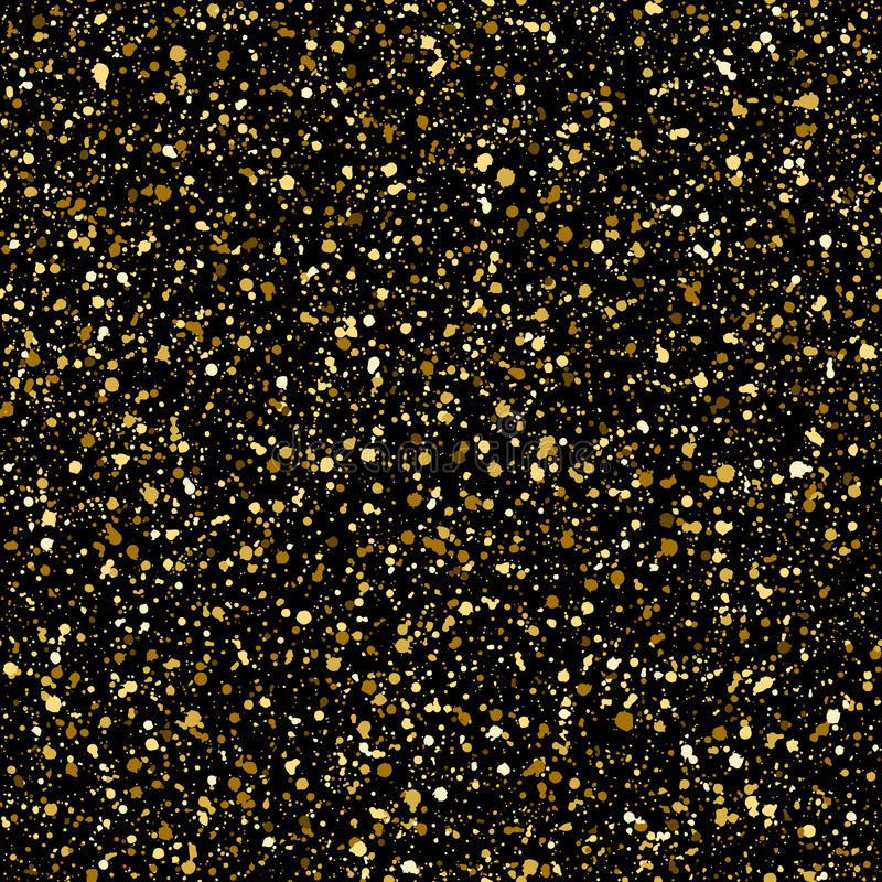 Gold splash or golden spangles vector seamless pattern. Gold splash or glittering spangles seamless pattern. Hand drawn gold glitter texture. Golden blobs or vector illustration