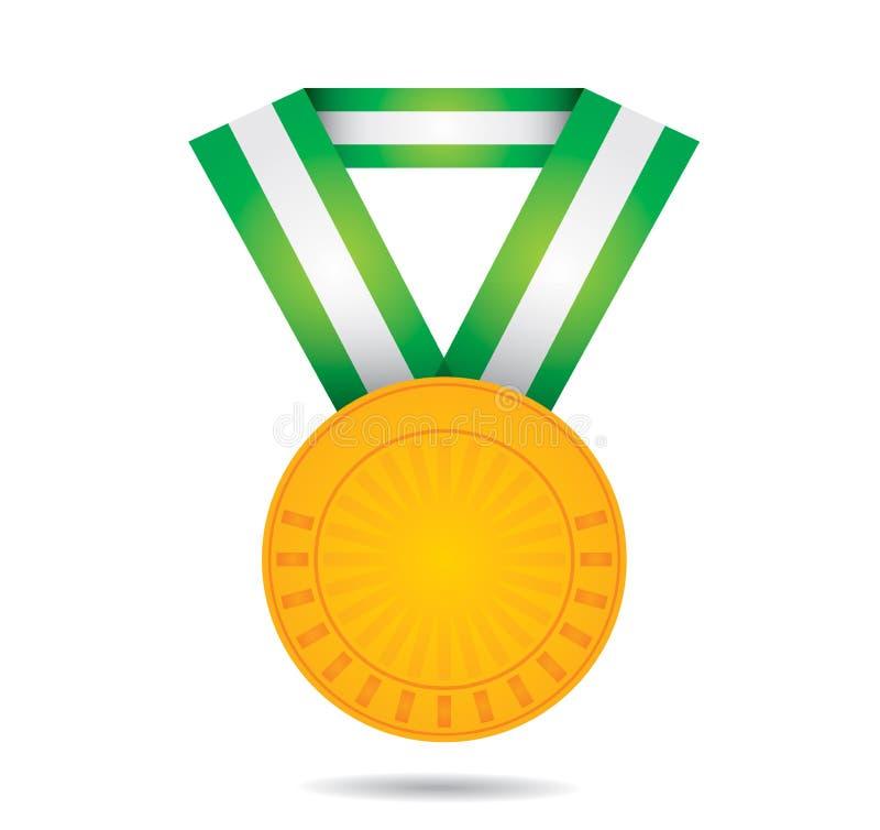 Gold sport medal vector illustration