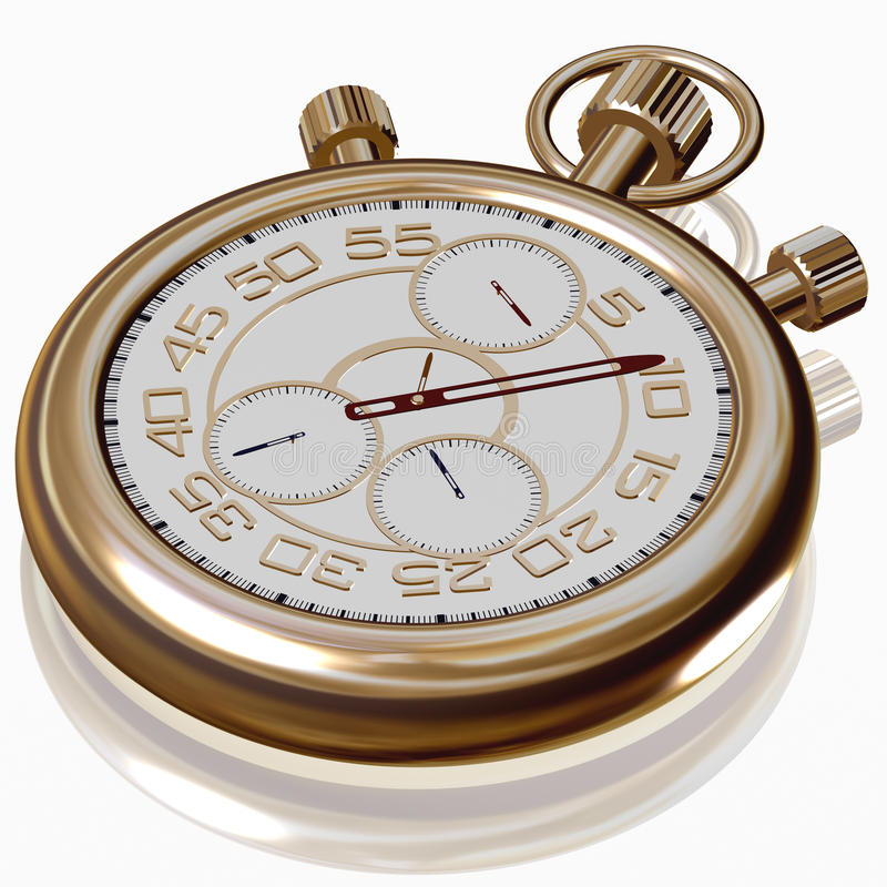 Download Gold Sport Stopwatch On White Stock Illustration - Image: 23411613