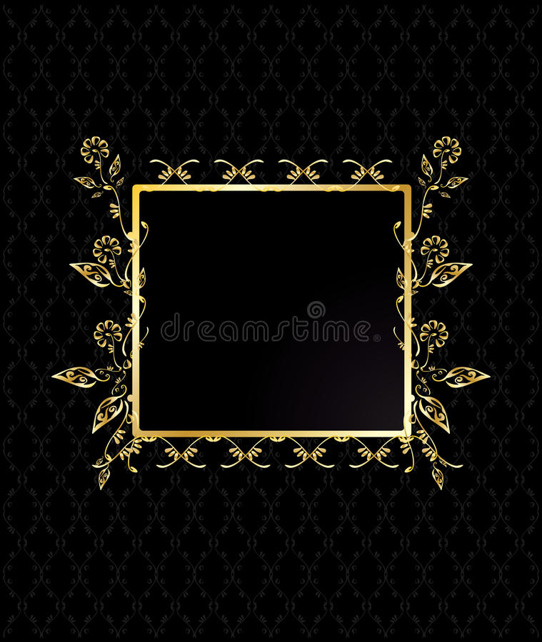 Gold square floral frame stock illustration