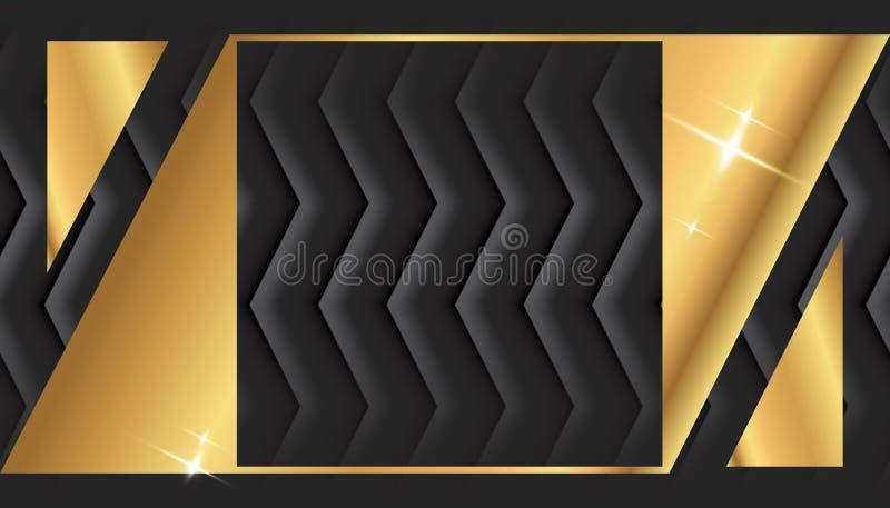 Gold Square Frame or Black Luxury Rectangular Border stock illustration