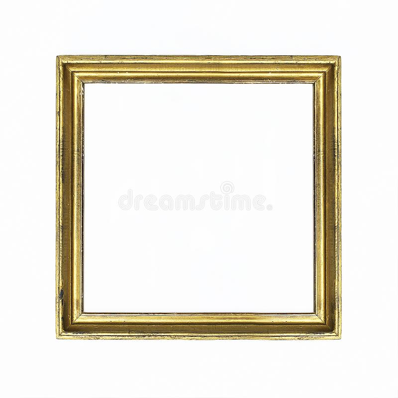 Gold square frame for painting or picture on white background. Isolated. Add your text. royalty free stock photography