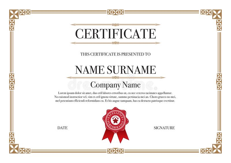 Gold Square shape with 3 stripes element Certificate border for Excellence Performance stock illustration